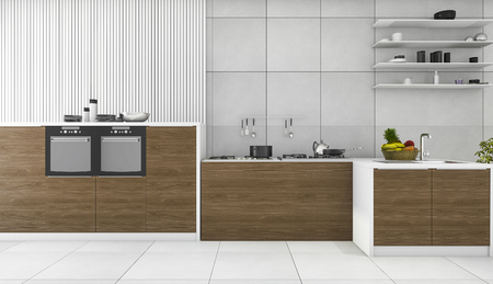 contemporary kitchen: 3d rendering contemporary wood kitchen and dining room