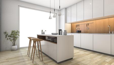 3d teruggevende witte moderne keuken met houten bar