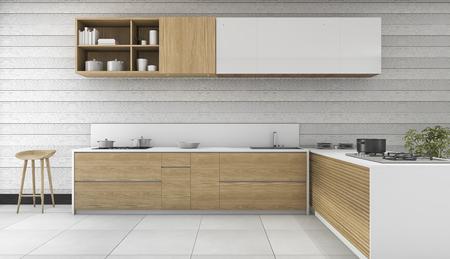 Cuisine vintage en bois de rendu 3D et salle à manger Banque d'images - 71890960