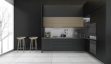 3d que rinde la cocina de madera oscura oscuro con vista al invierno Foto de archivo - 71889034