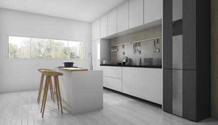 3d rendering white minimal and modern kitchen