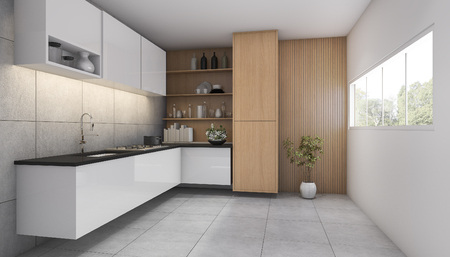 contemporary kitchen: 3d rendering contemporary wood kitchen with window