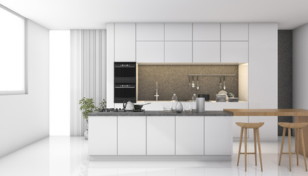 3d rendering white modern kitchen with light from window