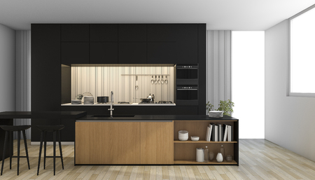 3d rendering black modern kitchen with light from window 스톡 콘텐츠