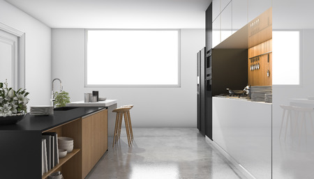 built in: 3d rendering loft white kitchen with wood built in Stock Photo