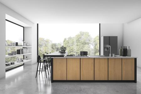 Weiße Dachbodenküche der Wiedergabe 3d mit hölzernem Dekor und Ansicht vom Fenster Standard-Bild