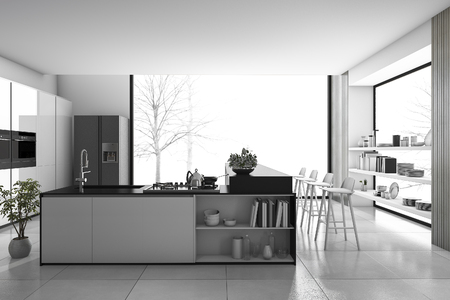 3D-weergave zwart-wit moderne keuken en loft eetkamer
