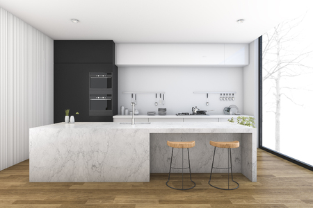 3d rendering modern kitchen with wood floor Stock fotó