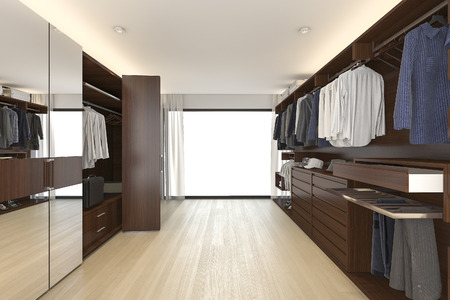 3d rendering beautiful wood horizontal wardrobe and walk in closet near window Banco de Imagens