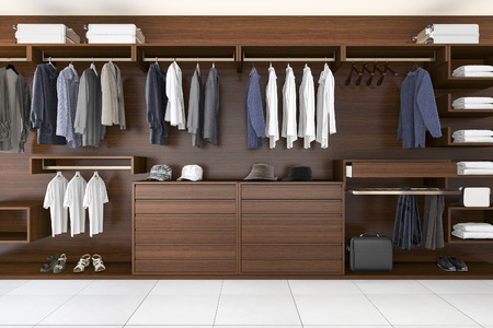 Renderingu 3D piękne drewna poziome szafa i chodzić w szafie Zdjęcie Seryjne