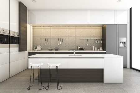 3d rendering modern wood and loft kitchen with dining bar