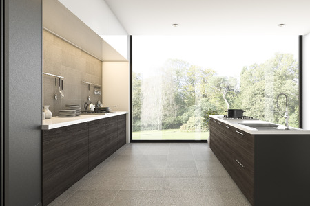 3d rendering wood kitchen with view from window