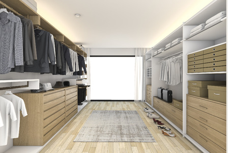 3d rendering minimal white wood walk in closet 스톡 콘텐츠