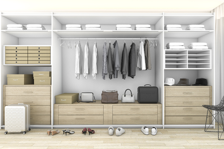 3D-rendering minimale hout walk in closet met garderobe