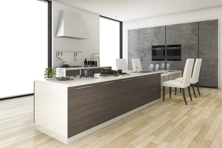 contemporary kitchen: 3d rendering contemporary wood kitchen with dining zone Stock Photo