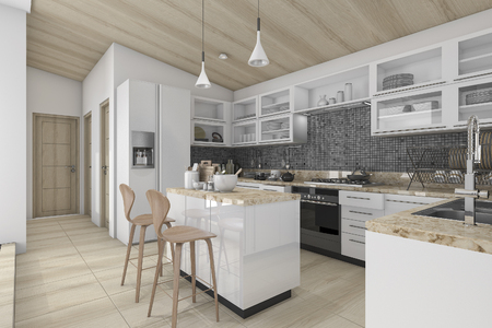contemporary kitchen: 3d rendering nice contemporary wood kitchen and dining counter