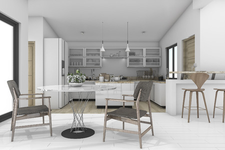 contemporary kitchen: 3d rendering dining zone in contemporary kitchen