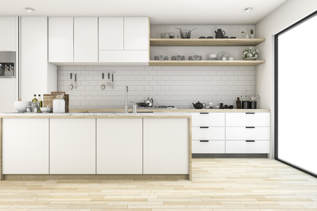 3d rendering scandinavian kitchen with white tone design 版權商用圖片 - 72961835