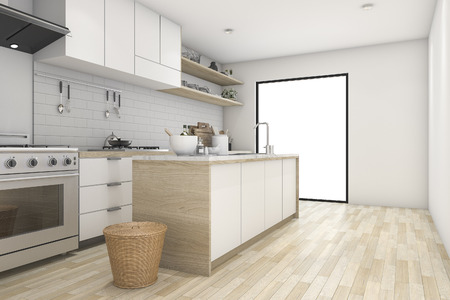 contemporary kitchen: 3d rendering white minimal kitchen with contemporary wood