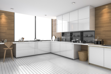 3d rendering white modern ethnic kitchen with wood design