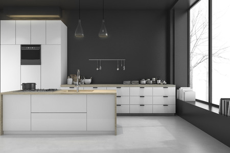 3d rendering modern loft black kitchen and dining room in winter 스톡 콘텐츠