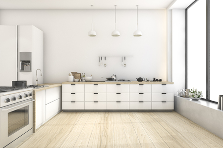 3d rendering white scandinavian style kitchen with lamp 版權商用圖片 - 73846251