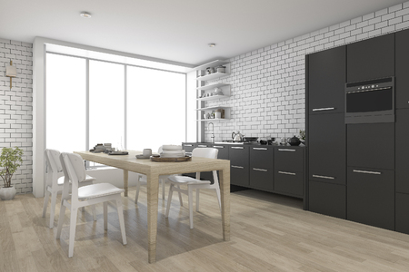 contemporary kitchen: 3d rendering contemporary wood kitchen with black built in