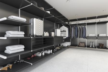 Schwarzer Fussweg Der Wiedergabe 3d Moderner Im Schrank Mit Hemd Und