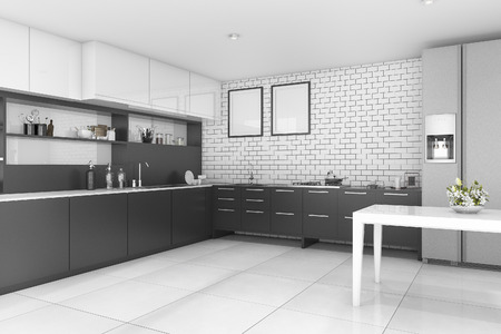 contemporary kitchen: 3d rendering nice contemporary style black kitchen Stock Photo