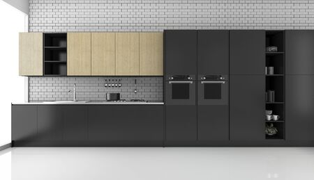 3d 렌더링 벽돌 벽과 검은 현대 다락방 부엌 스톡 콘텐츠