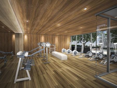 3d rendering wood fitness center