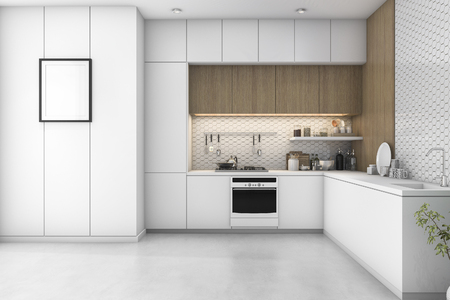 3d rendering white minimal kitchen with wood decoration