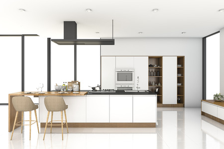 3d rendering white modern kitchen near window