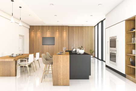 3d rendering wood kitchen and dining room 스톡 콘텐츠