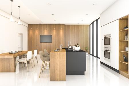 3d rendering wood kitchen and dining room Zdjęcie Seryjne