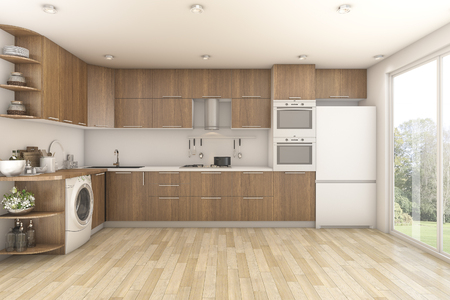 3d rendering wood laundry and kitchen