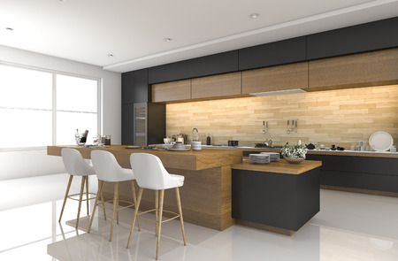 kitchen furniture: 3d rendering modern black kitchen with wood decor Stock Photo