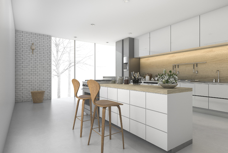3d rendering minimal kitchen bar with dining zone 스톡 콘텐츠