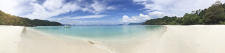 panorama beautiful white coast near sea and island