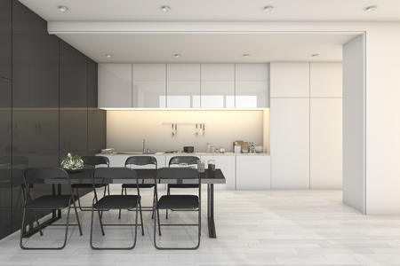 3d rendering white modern kitchen and living room with dining zone