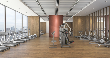 3d rendering modern wood gym and fitness with beautiful view