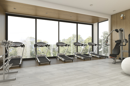 3d rendering nice garden view wood gym and fitness