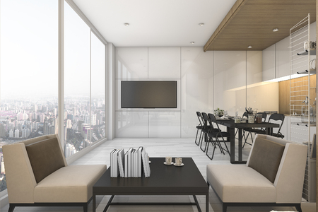 kitchen furniture: 3d rendering nice view kitchen and living room on condominium