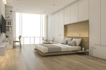 3d rendering wood minimal style bedroom with view from window