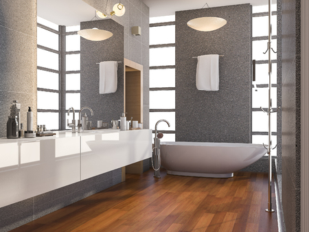3d rendering wood modern bathroom with window and stone tile wall in summer 스톡 콘텐츠