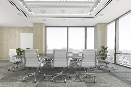3d rendering meeting room on office building 스톡 콘텐츠
