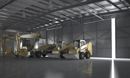 3d rendering warehouse with tractor and logistic concept