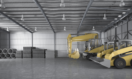 3d rendering warehouse with tractor and logistic concept and material construction 写真素材