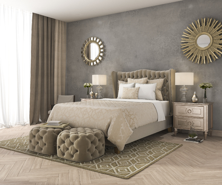 3d rendering classic luxury bedroom with pouf and mirror and concrete wall Stock Photo