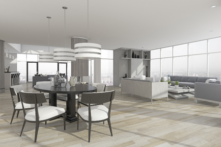 3d Rendering Dining Zone With Table And Chair Near Set Of Sofa In Living Room Photo